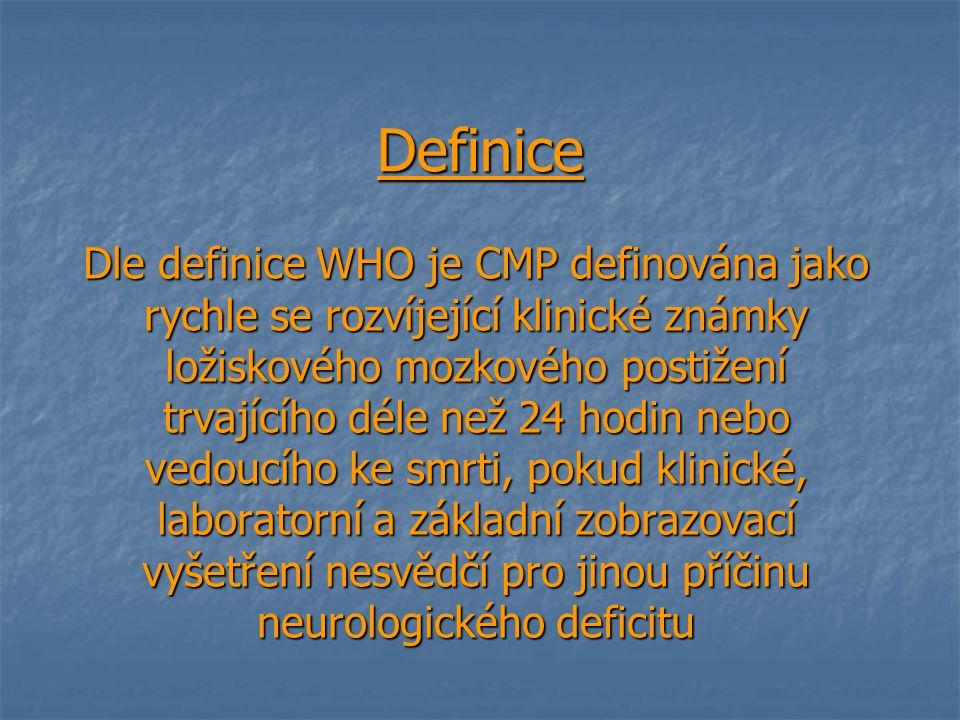 Definice Dle definice WHO je CMP definována jako rychle se rozvíjející klinické známky ložiskového mozkového postižení trvajícího déle než 24 hodin ne