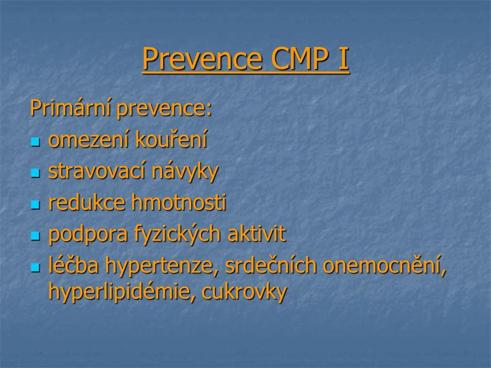 Prevence CMP I Primární prevence: omezení kouření omezení kouření stravovací návyky stravovací návyky redukce hmotnosti redukce hmotnosti podpora fyzi