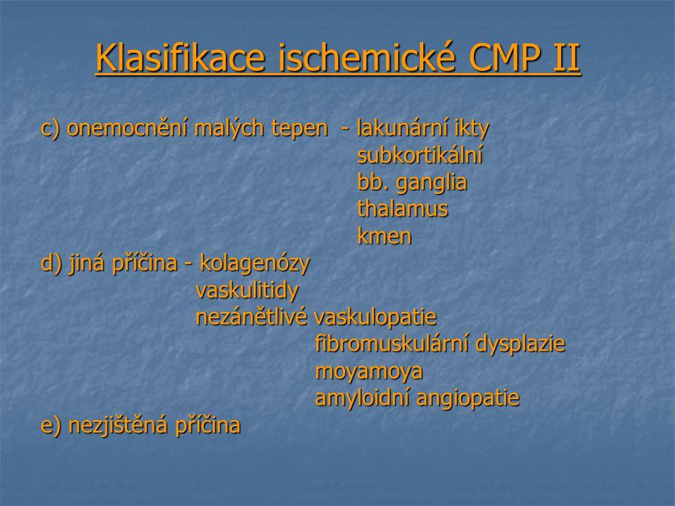 Klasifikace ischemické CMP II c) onemocnění malých tepen - lakunární ikty subkortikální subkortikální bb. ganglia bb. ganglia thalamus thalamus kmen k