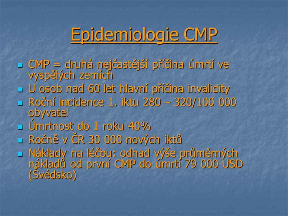 Epidemiologie CMP CMP = druhá nejčastější příčina úmrtí ve vyspělých zemích CMP = druhá nejčastější příčina úmrtí ve vyspělých zemích U osob nad 60 le