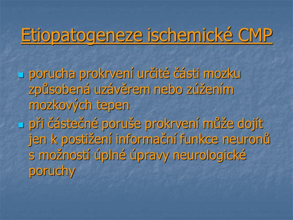Etiopatogeneze ischemické CMP porucha prokrvení určité části mozku způsobená uzávěrem nebo zúžením mozkových tepen porucha prokrvení určité části mozk