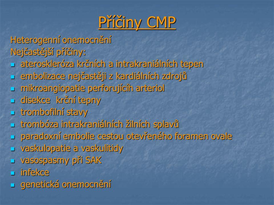 Příčiny CMP Heterogenní onemocnění Nejčastější příčiny: ateroskleróza krčních a intrakraniálních tepen ateroskleróza krčních a intrakraniálních tepen