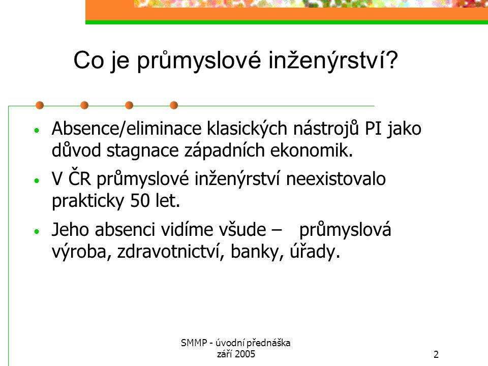 SMMP - úvodní přednáška září 20052 Co je průmyslové inženýrství? Absence/eliminace klasických nástrojů PI jako důvod stagnace západních ekonomik. V ČR