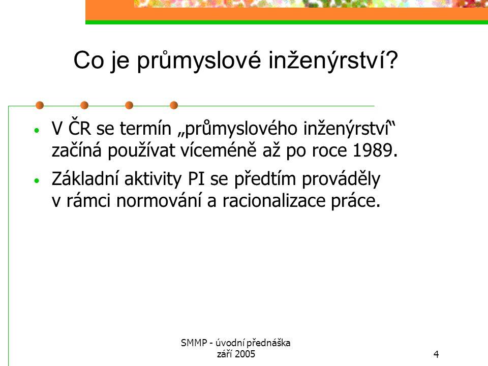 SMMP - úvodní přednáška září 20055 Co je průmyslové inženýrství.