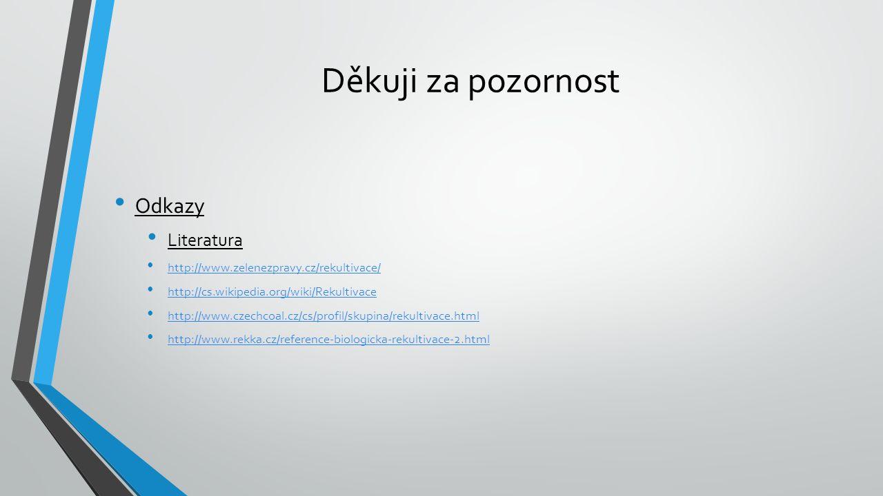 Děkuji za pozornost Odkazy Literatura http://www.zelenezpravy.cz/rekultivace/ http://cs.wikipedia.org/wiki/Rekultivace http://www.czechcoal.cz/cs/profil/skupina/rekultivace.html http://www.rekka.cz/reference-biologicka-rekultivace-2.html