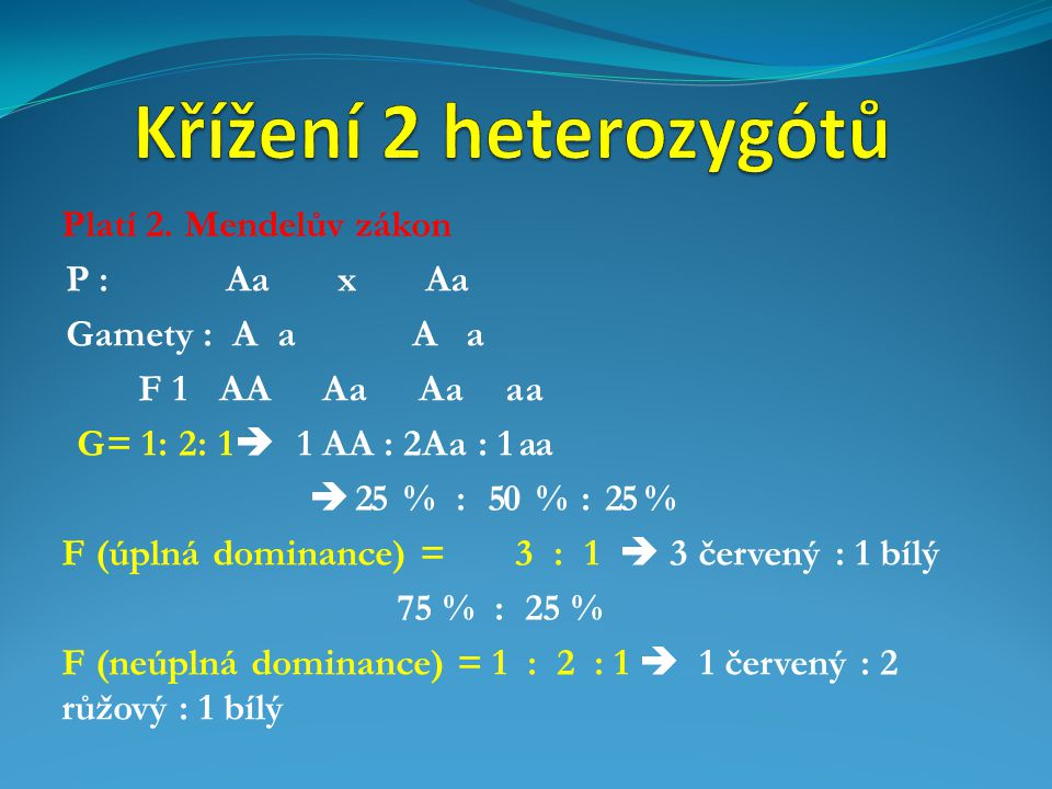 Platí 2. Mendelův zákon P : Aa x Aa Gamety : A a A a F 1 AA Aa Aa aa G= 1: 2: 1  1 AA : 2Aa : 1 aa  25 % : 50 % : 25 % F (úplná dominance) = 3 : 1 