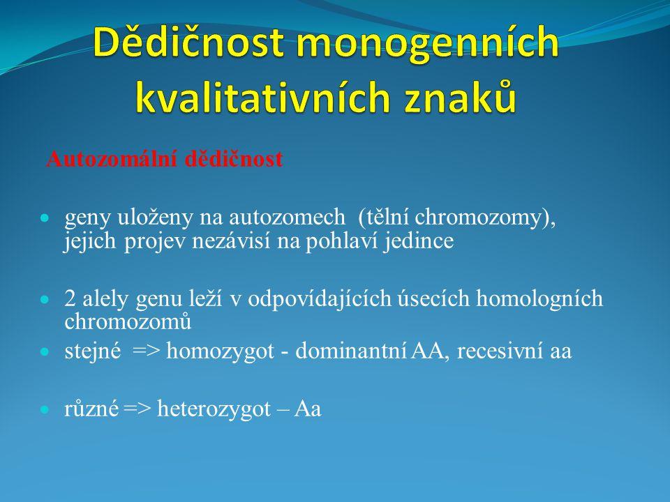 Autozomální dědičnost  geny uloženy na autozomech (tělní chromozomy), jejich projev nezávisí na pohlaví jedince  2 alely genu leží v odpovídajících