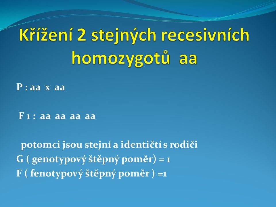 P : AA x Aa Gamety : A A A a F1 : AA Aa AA Aa ~ potomci se štěpí v poměru 1:1 = jedinci genotypově i fenotypově shodní s rodiči v poměru 1 : 1 ( 50% : 50% ) = potomci nejsou uniformní G=2:2=1:1 F (úplná dominance) = všichni červení = 1 F (neúplná dominance) = 1 : 1 po1ovina červený ( AA), polovina růžových (Aa ) růžový = červená ( A ) a bílá ( a )