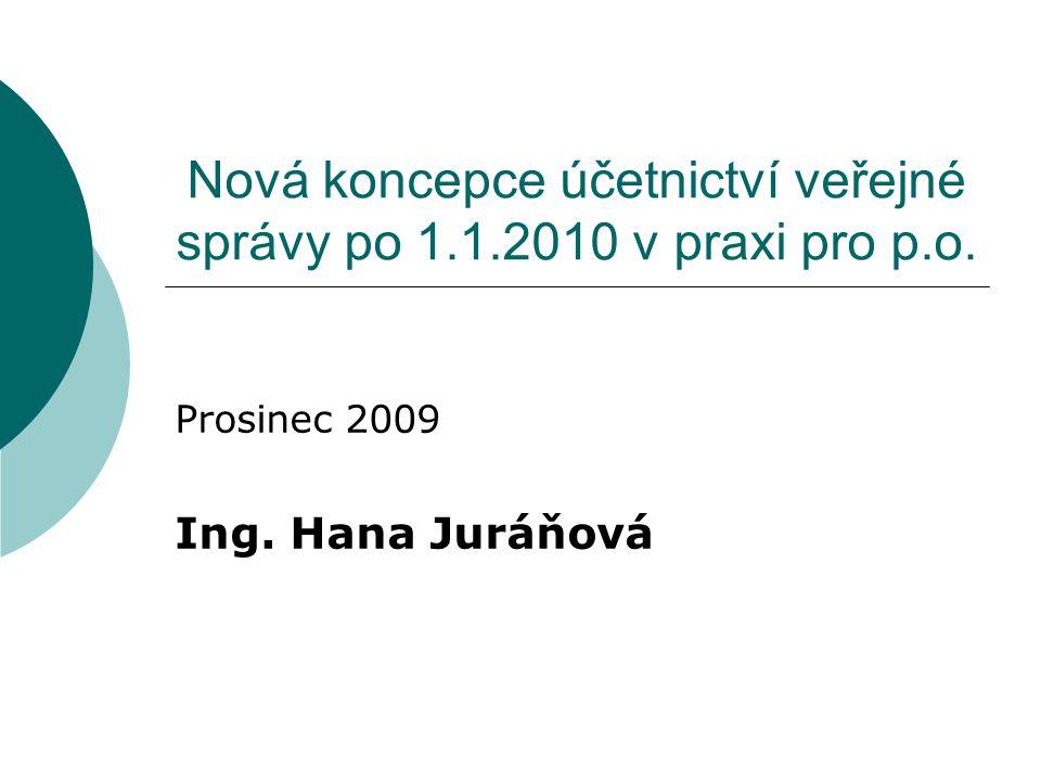Nová koncepce účetnictví veřejné správy po 1.1.2010 v praxi pro p.o. Prosinec 2009 Ing. Hana Juráňová