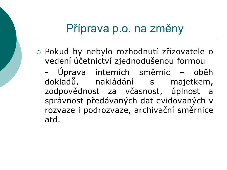 Příprava p.o. na změny  Pokud by nebylo rozhodnutí zřizovatele o vedení účetnictví zjednodušenou formou - Úprava interních směrnic – oběh dokladů, na