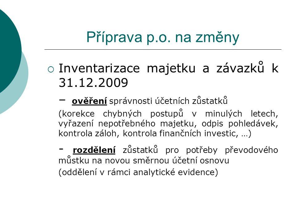 Příprava p.o. na změny  Inventarizace majetku a závazků k 31.12.2009 – ověření správnosti účetních zůstatků (korekce chybných postupů v minulých lete