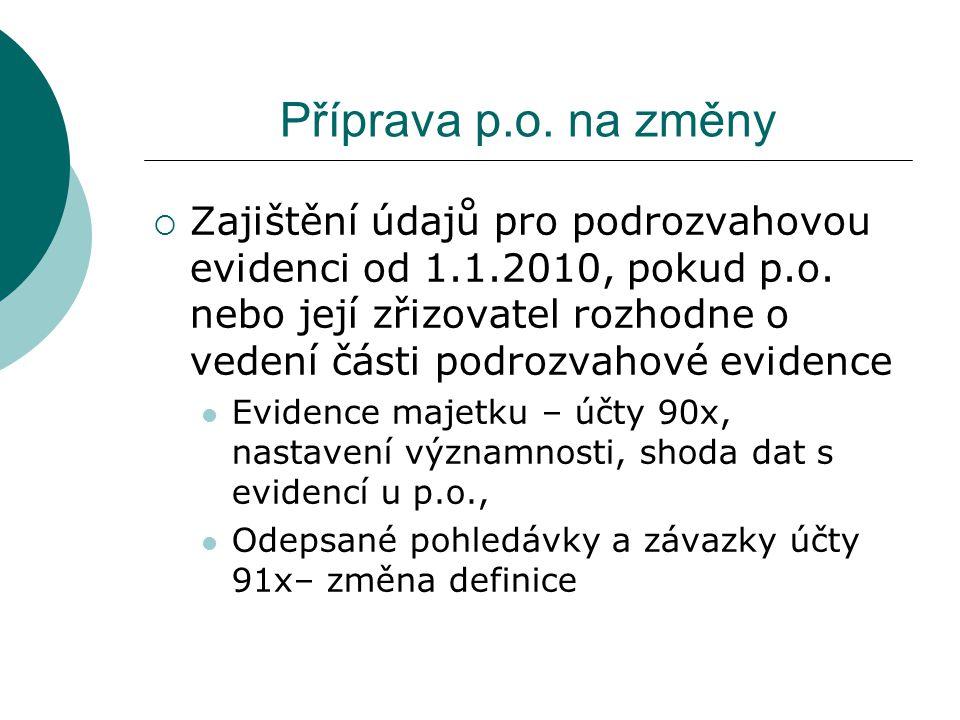 Příprava p.o. na změny  Zajištění údajů pro podrozvahovou evidenci od 1.1.2010, pokud p.o. nebo její zřizovatel rozhodne o vedení části podrozvahové