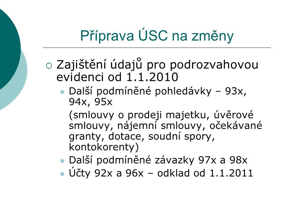 Příprava ÚSC na změny  Zajištění údajů pro podrozvahovou evidenci od 1.1.2010 Další podmíněné pohledávky – 93x, 94x, 95x (smlouvy o prodeji majetku,