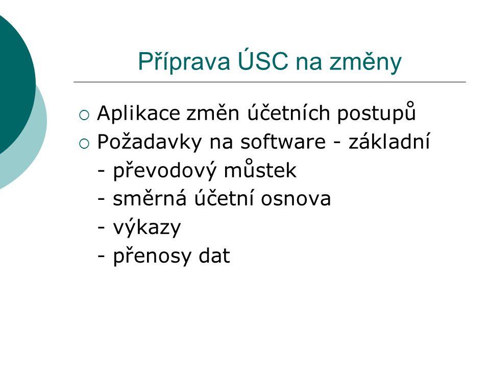 Příprava ÚSC na změny  Aplikace změn účetních postupů  Požadavky na software - základní - převodový můstek - směrná účetní osnova - výkazy - přenosy