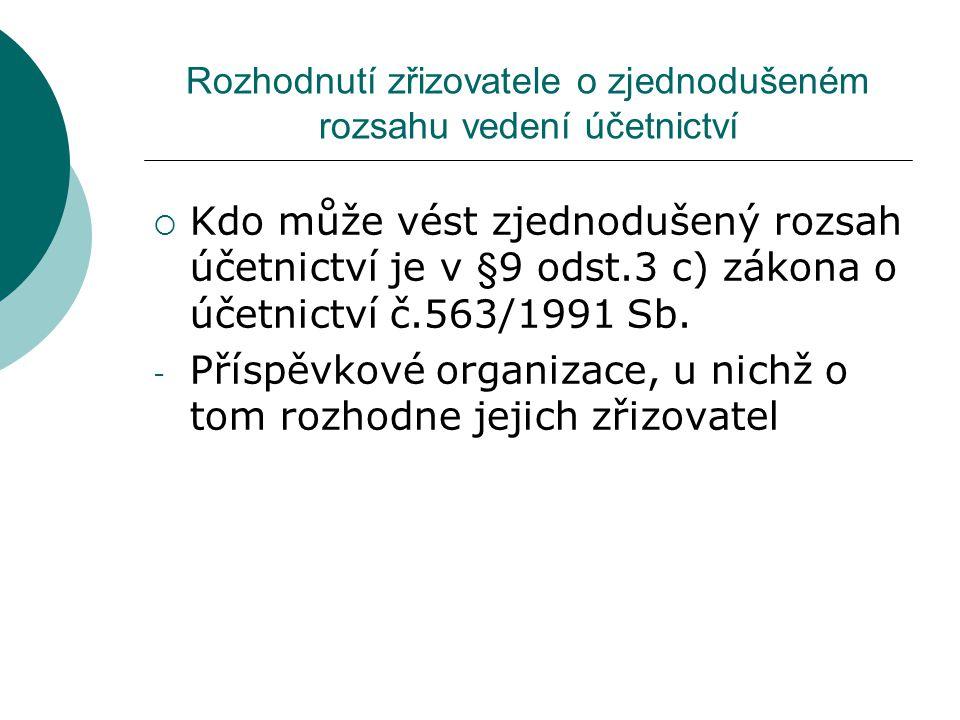 Zjednodušený rozsah účetnictví  Co je podstatou zjednodušení rozsahu je v §13a zákona o účetnictví č.