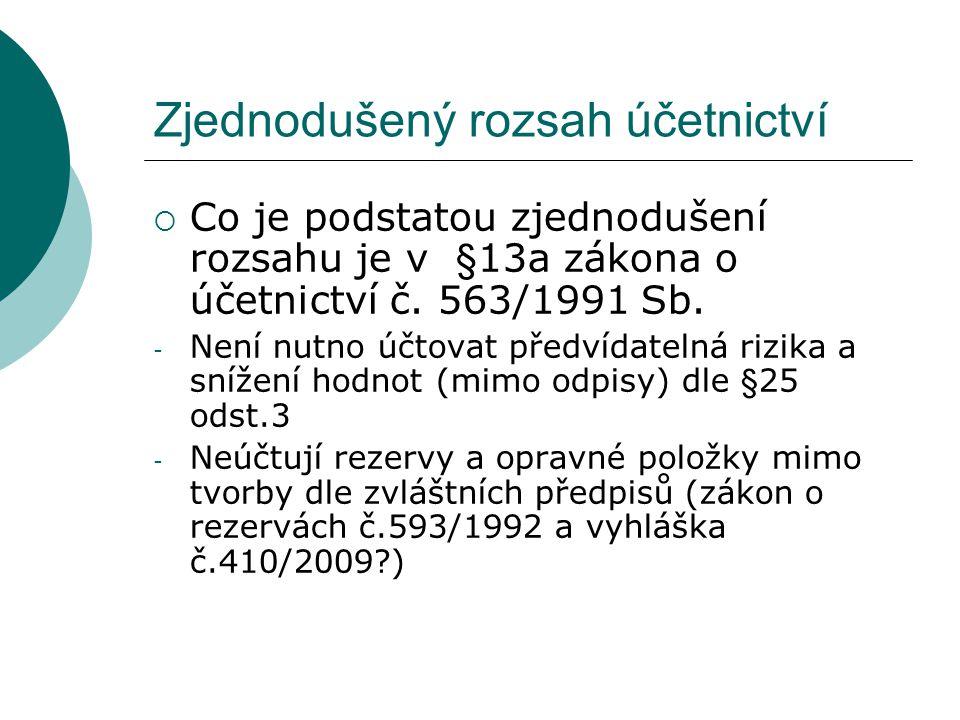 Zjednodušený rozsah účetnictví  Nepoužijí ustanovení §27 – o oceňování majetku reálnou cenou včetně majetku určeného k prodeji  Nemusí účtovat v knihách analytické evidence  Nemusí účtovat v knihách podrozvahových účtů