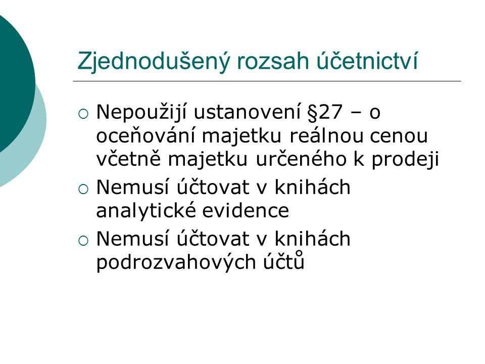 Zjednodušený rozsah účetnictví  Podle §9 odst.1 vyhlášky č.410/2009 Sb.