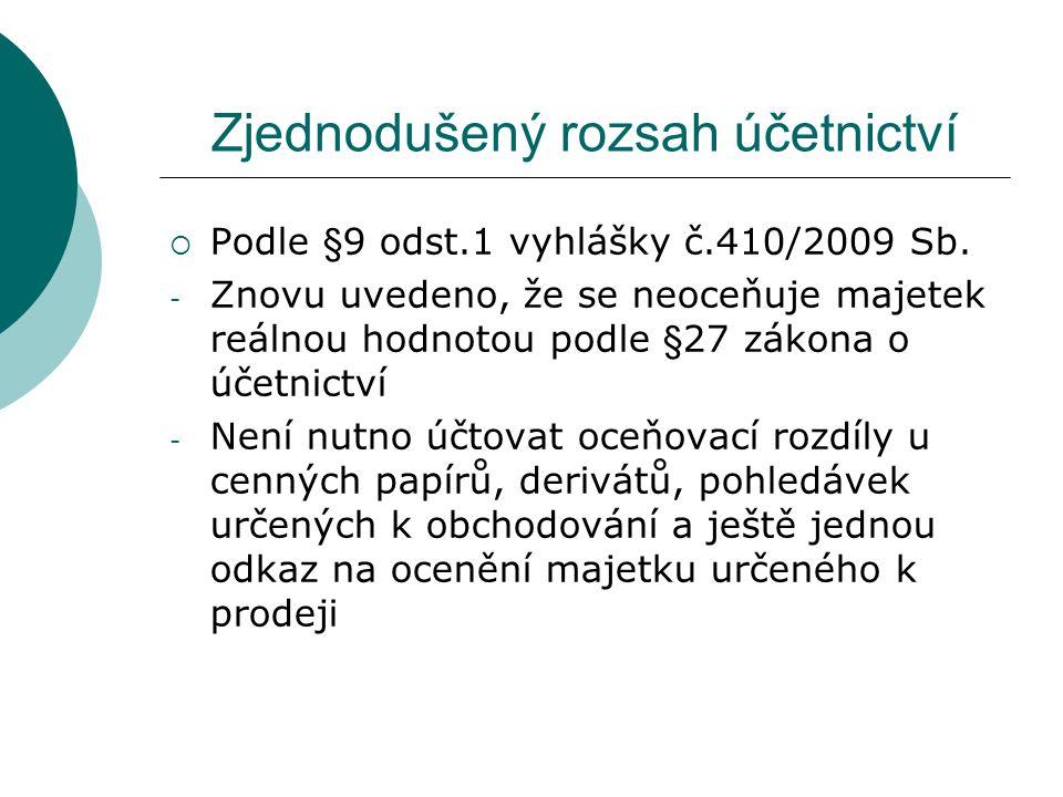 Zjednodušený rozsah účetnictví  Podle §9 odst.2 vyhlášky č.410/2009 Sb.
