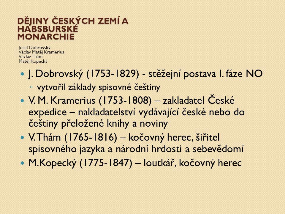 DĚJINY ČESKÝCH ZEMÍ A HABSBURSKÉ MONARCHIE Josef Dobrovský Václav Matěj Kramerius Václav Thám Matěj Kopecký J. Dobrovský (1753-1829) - stěžejní postav