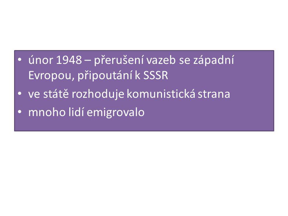 únor 1948 – přerušení vazeb se západní Evropou, připoutání k SSSR ve státě rozhoduje komunistická strana mnoho lidí emigrovalo
