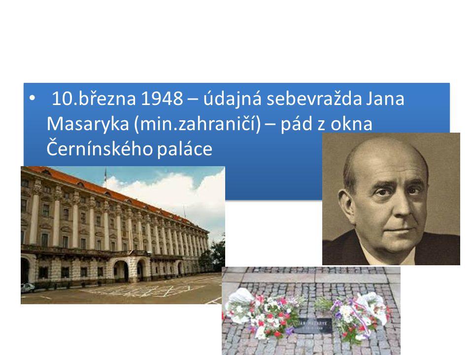 10.března 1948 – údajná sebevražda Jana Masaryka (min.zahraničí) – pád z okna Černínského paláce