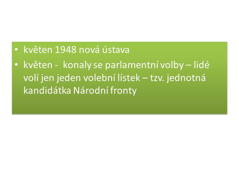 květen 1948 nová ústava květen - konaly se parlamentní volby – lidé volí jen jeden volební lístek – tzv. jednotná kandidátka Národní fronty květen 194