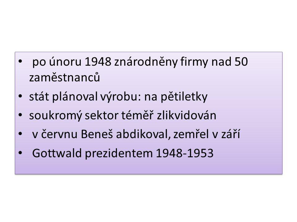 po únoru 1948 znárodněny firmy nad 50 zaměstnanců stát plánoval výrobu: na pětiletky soukromý sektor téměř zlikvidován v červnu Beneš abdikoval, zemře