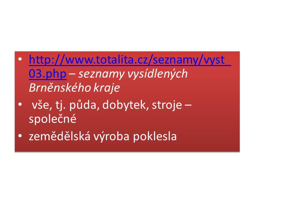 http://www.totalita.cz/seznamy/vyst_ 03.php – seznamy vysídlených Brněnského kraje http://www.totalita.cz/seznamy/vyst_ 03.php vše, tj. půda, dobytek,