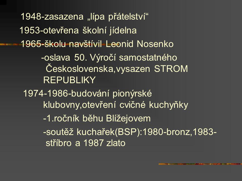 """1948-zasazena """"lípa přátelství"""" 1953-otevřena školní jídelna 1965-školu navštívil Leonid Nosenko -oslava 50. Výročí samostatného Československa,vysaze"""