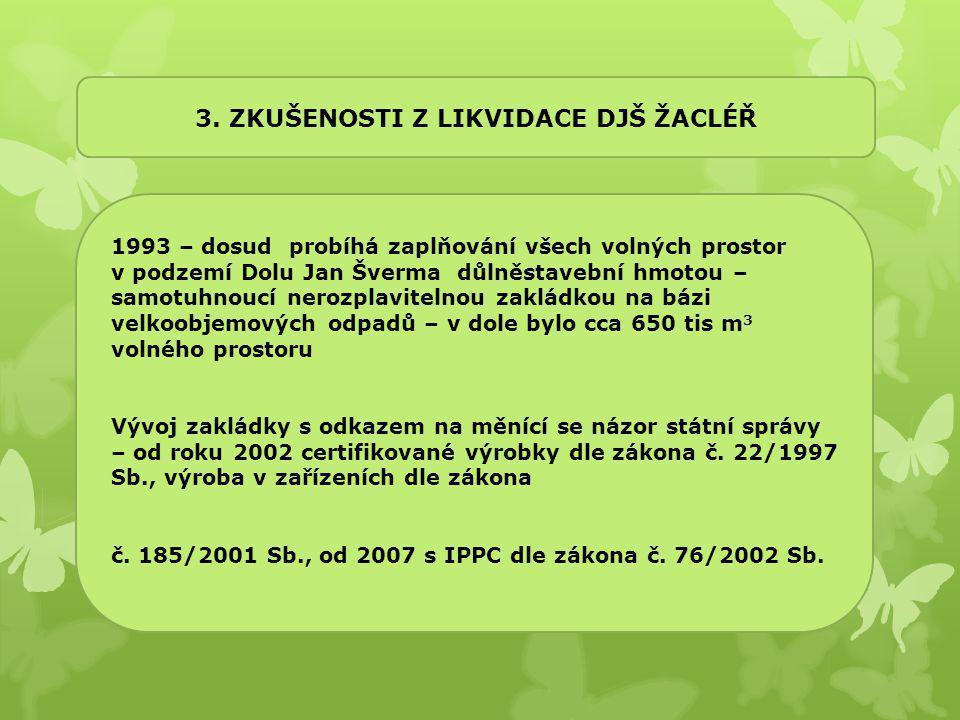 3. ZKUŠENOSTI Z LIKVIDACE DJŠ ŽACLÉŘ 1993 – dosud probíhá zaplňování všech volných prostor v podzemí Dolu Jan Šverma důlněstavební hmotou – samotuhnou