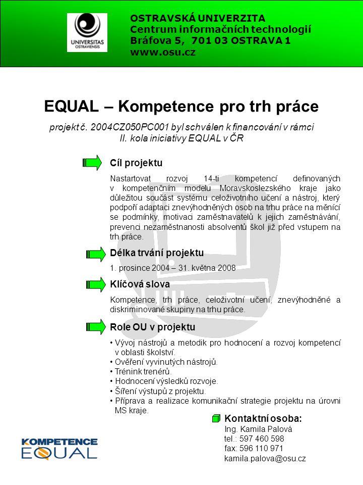 EQUAL – Kompetence pro trh práce projekt č. 2004CZ050PC001 byl schválen k financování v rámci II. kola iniciativy EQUAL v ČR Cíl projektu Nastartovat