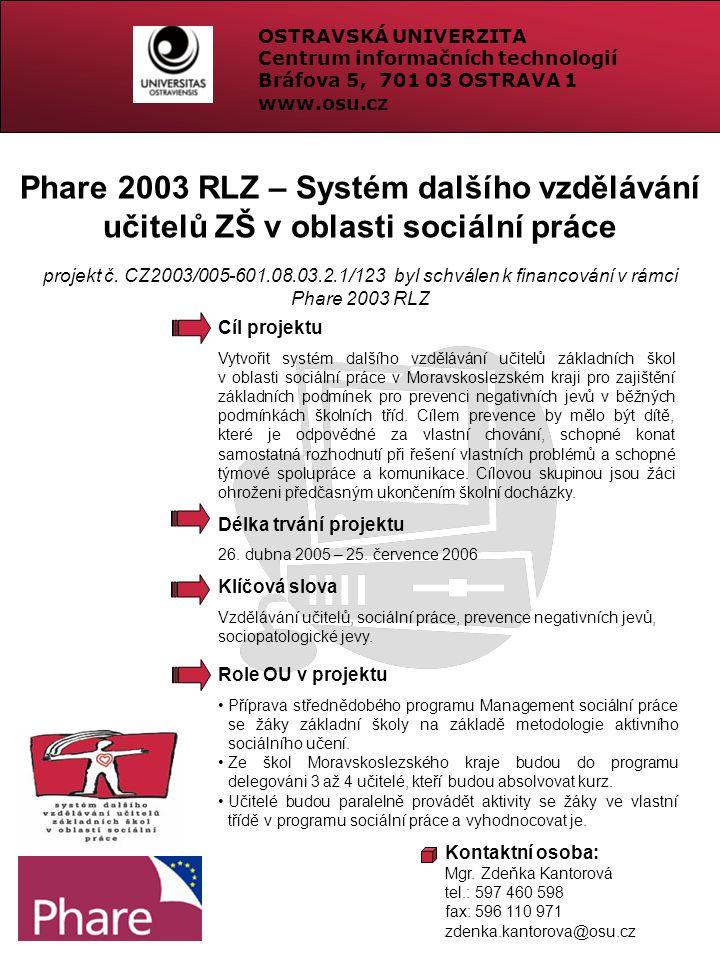 Phare 2003 RLZ – Systém dalšího vzdělávání učitelů ZŠ v oblasti sociální práce projekt č. CZ2003/005-601.08.03.2.1/123 byl schválen k financování v rá