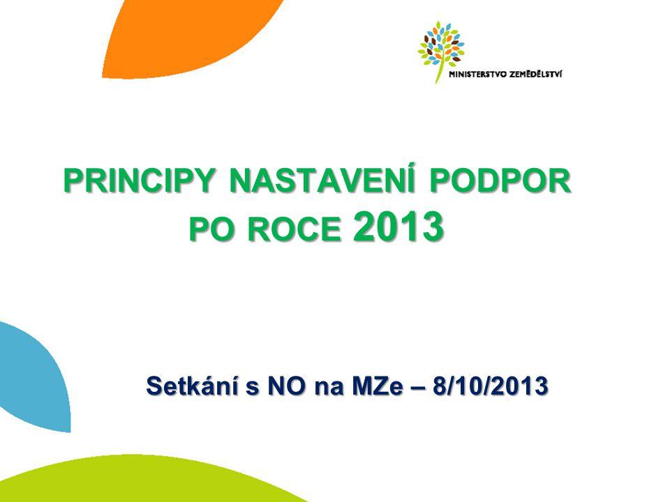 PRINCIPY NASTAVENÍ PODPOR PO ROCE 2013 Setkání s NO na MZe – 8/10/2013