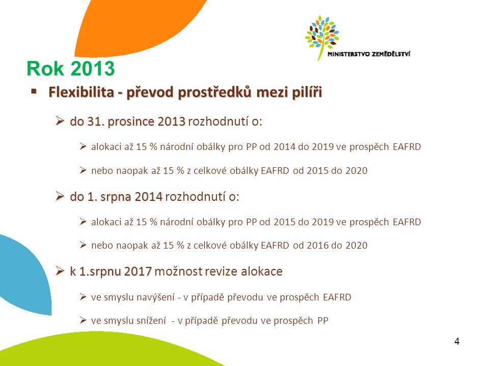Rok 2013  Flexibilita - převod prostředků mezi pilíři  do 31.