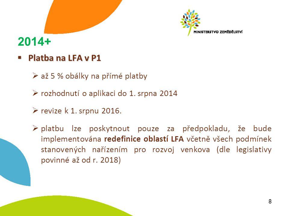 2014+  Platba na LFA v P1  až 5 % obálky na přímé platby  rozhodnutí o aplikaci do 1.