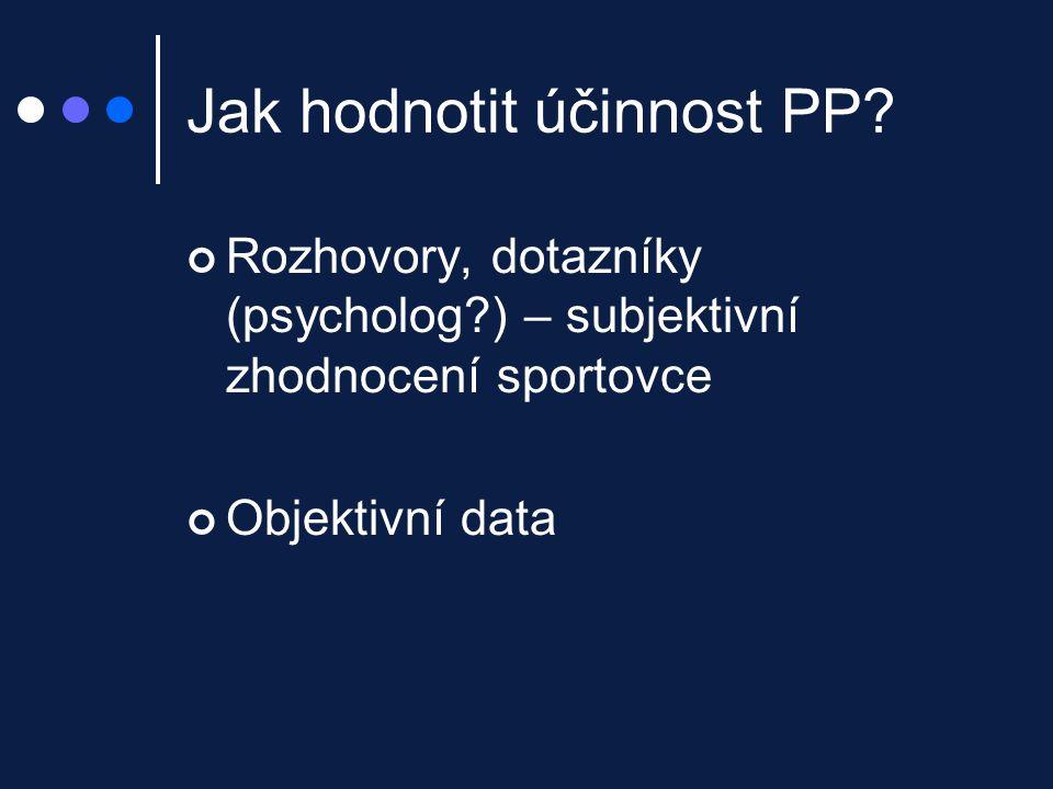Jak hodnotit účinnost PP? Rozhovory, dotazníky (psycholog?) – subjektivní zhodnocení sportovce Objektivní data