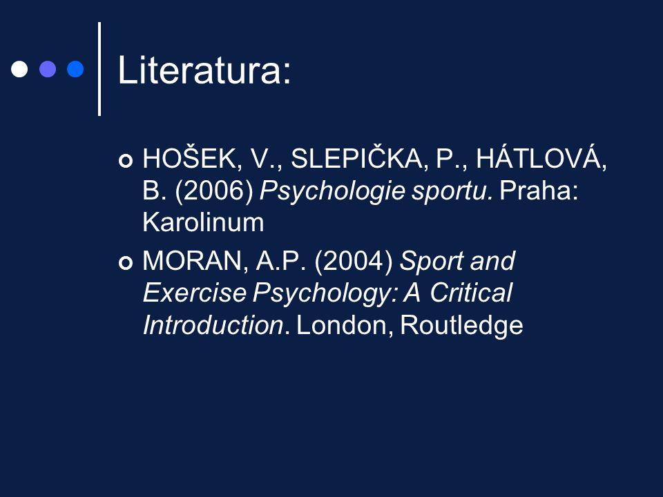 Literatura: HOŠEK, V., SLEPIČKA, P., HÁTLOVÁ, B. (2006) Psychologie sportu. Praha: Karolinum MORAN, A.P. (2004) Sport and Exercise Psychology: A Criti