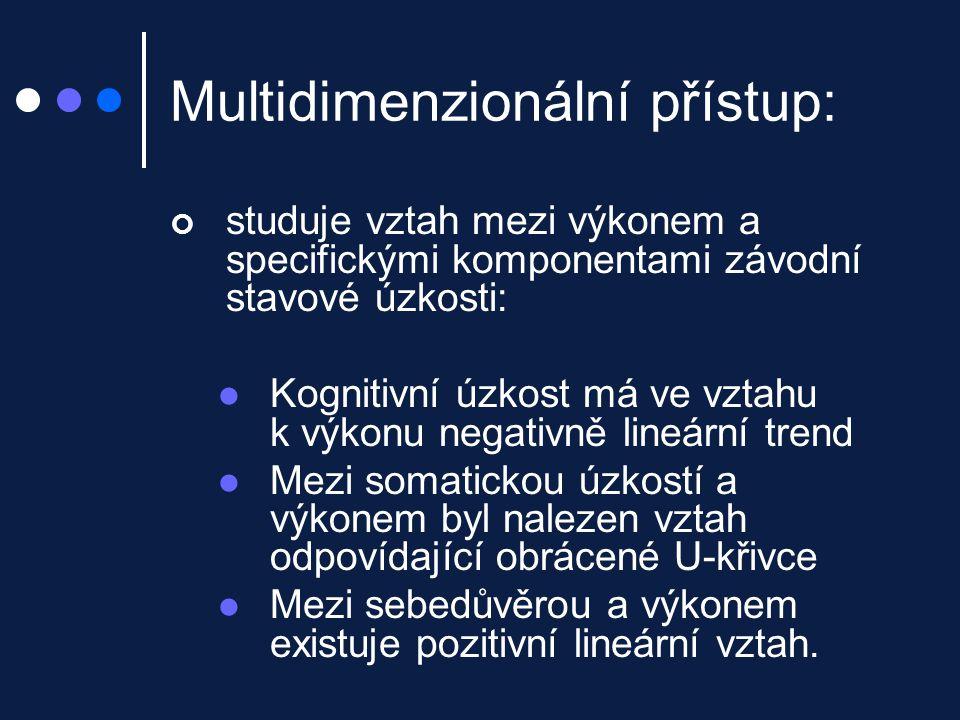 Multidimenzionální přístup: studuje vztah mezi výkonem a specifickými komponentami závodní stavové úzkosti: Kognitivní úzkost má ve vztahu k výkonu ne