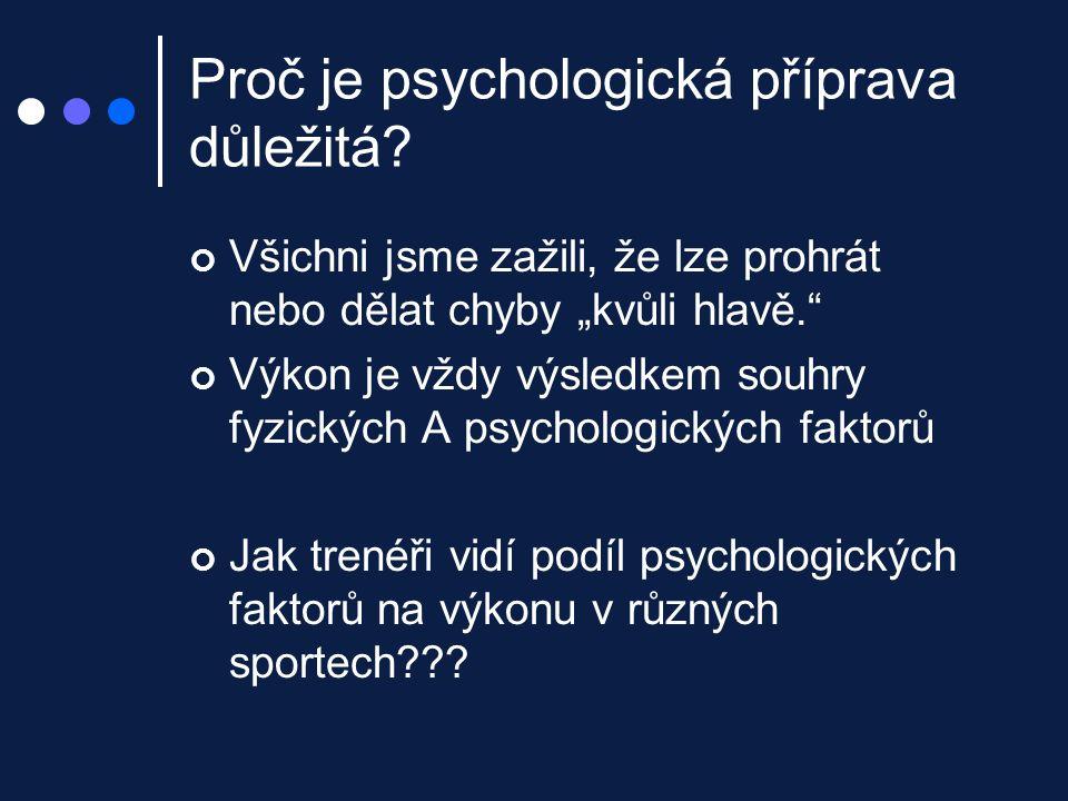 """Proč je psychologická příprava důležitá? Všichni jsme zažili, že lze prohrát nebo dělat chyby """"kvůli hlavě."""" Výkon je vždy výsledkem souhry fyzických"""