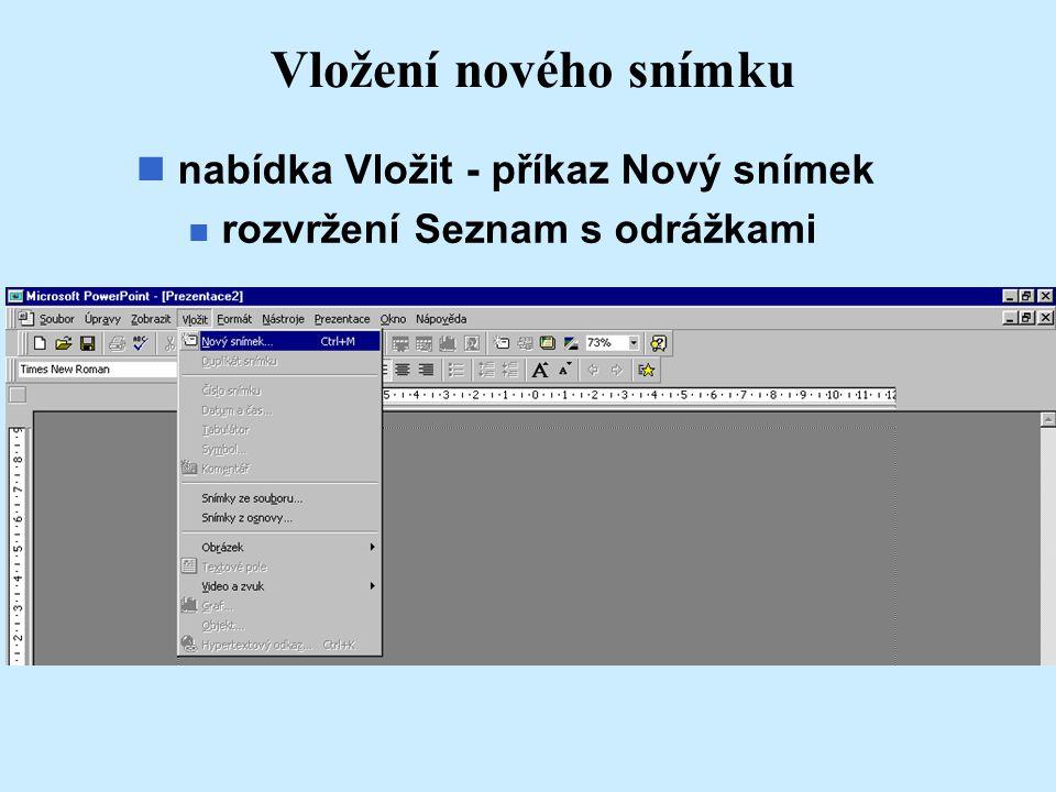 Vložení nového snímku nabídka Vložit - příkaz Nový snímek n rozvržení Seznam s odrážkami