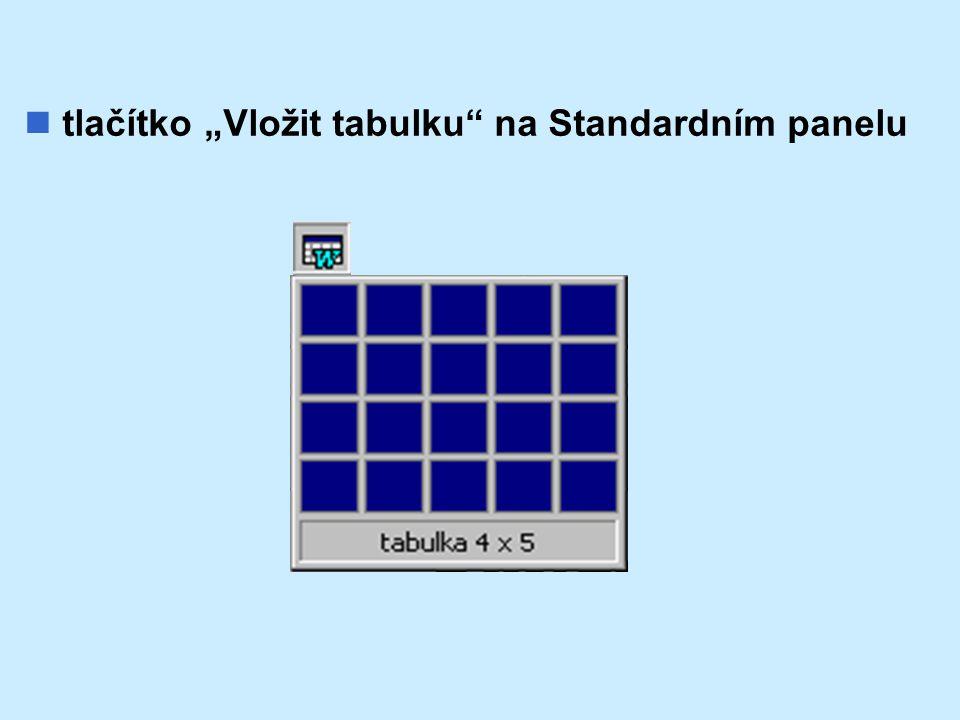"""tlačítko """"Vložit tabulku"""" na Standardním panelu"""