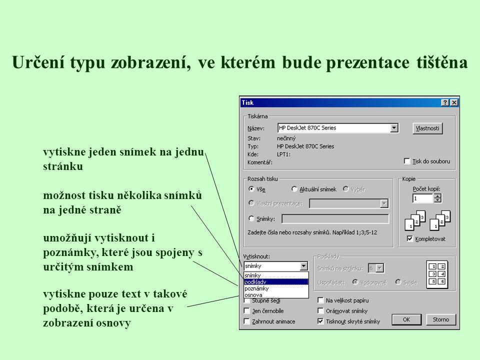 Příprava podkladů a tisk prezentací Podklady jsou stránky s miniaturami 2, 3, 4, 6 nebo 9 snímků – vhodné pro posluchače Tisk podkladů - Soubor - Tisk vytiskne celou prezentaci vytiskne pouze vybraný snímek, na kterém se nachází kurzor volba výběr je zpřístupněna pouze tehdy, jsou-li označeny některé snímky v zobrazení Řazení snímků vytiskne vybrané snímky, které zapíšeme čísly