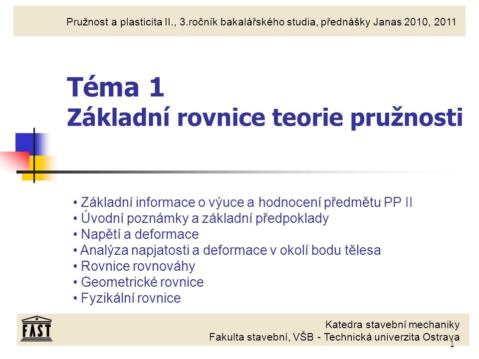 2 Základní informace Předmět: 228-0211/01 - Pružnost a plasticita II Přednášející: Doc.