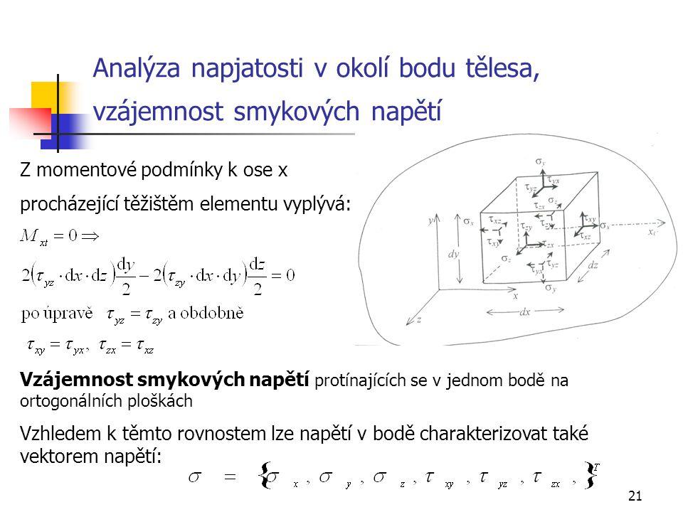21 Analýza napjatosti v okolí bodu tělesa, vzájemnost smykových napětí Z momentové podmínky k ose x procházející těžištěm elementu vyplývá: Vzájemnost smykových napětí protínajících se v jednom bodě na ortogonálních ploškách Vzhledem k těmto rovnostem lze napětí v bodě charakterizovat také vektorem napětí: