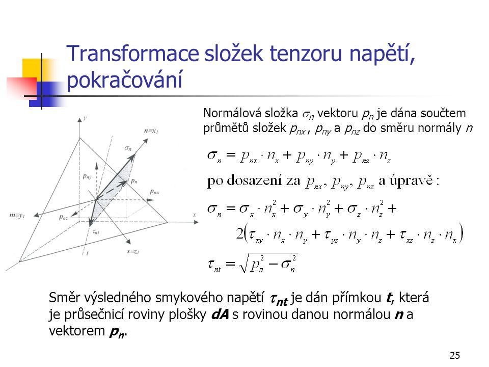 25 Transformace složek tenzoru napětí, pokračování Normálová složka  n vektoru p n je dána součtem průmětů složek p nx, p ny a p nz do směru normály n Směr výsledného smykového napětí  nt je dán přímkou t, která je průsečnicí roviny plošky dA s rovinou danou normálou n a vektorem p n.