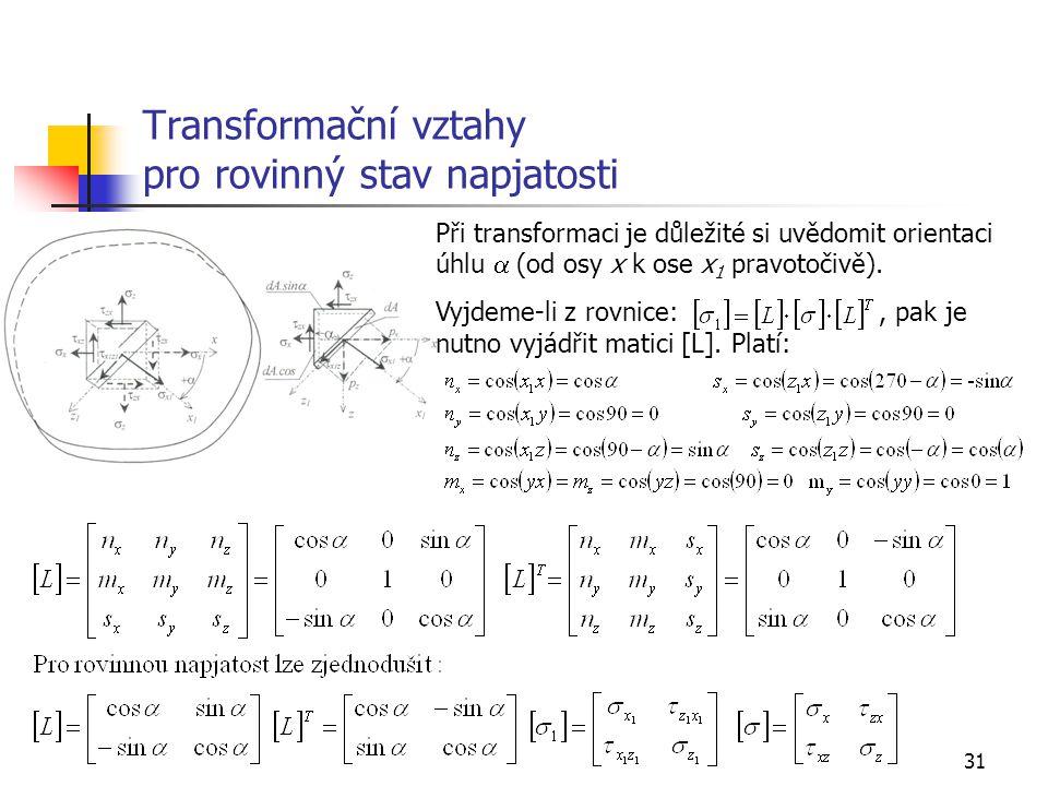 31 Transformační vztahy pro rovinný stav napjatosti Při transformaci je důležité si uvědomit orientaci úhlu  (od osy x k ose x 1 pravotočivě).