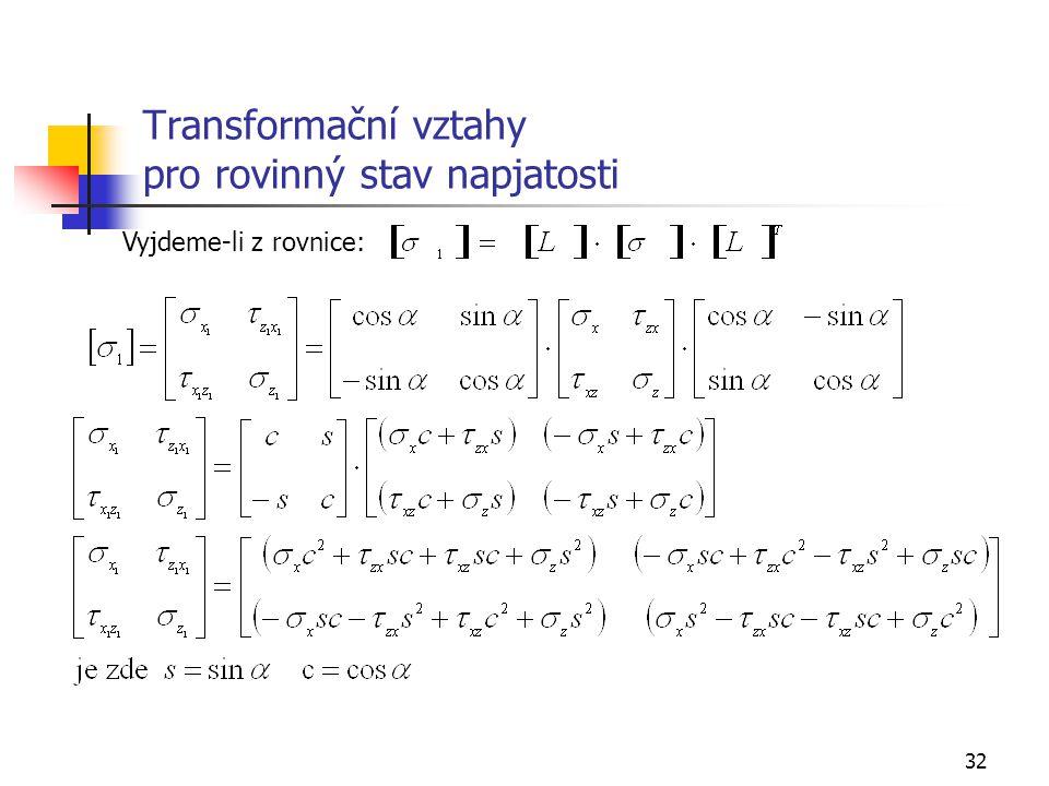 32 Transformační vztahy pro rovinný stav napjatosti Vyjdeme-li z rovnice: