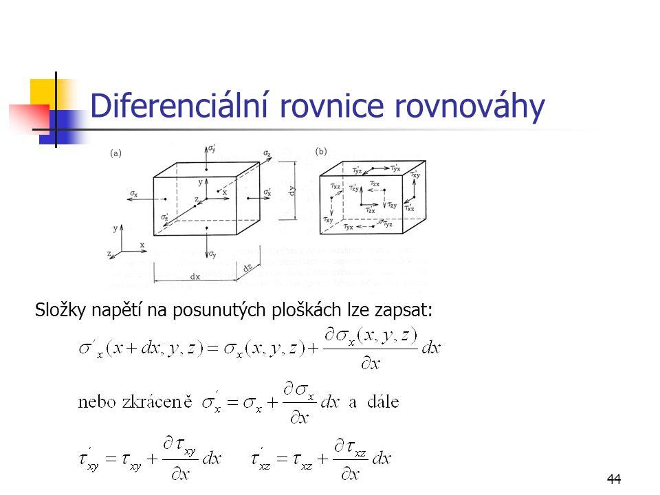 44 Diferenciální rovnice rovnováhy Složky napětí na posunutých ploškách lze zapsat: