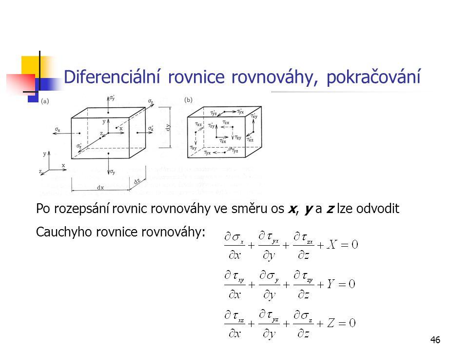 46 Diferenciální rovnice rovnováhy, pokračování Po rozepsání rovnic rovnováhy ve směru os x, y a z lze odvodit Cauchyho rovnice rovnováhy: