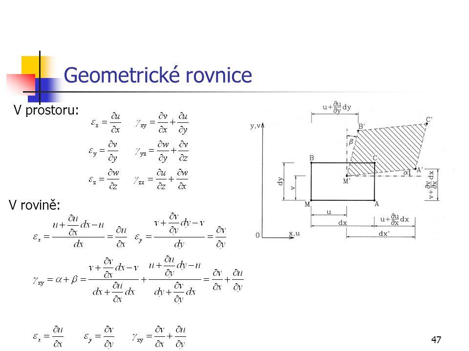 47 Geometrické rovnice V rovině: V prostoru: